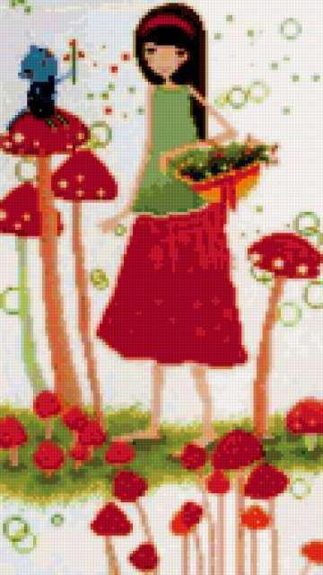 Алиса и мухоморы, открытка,