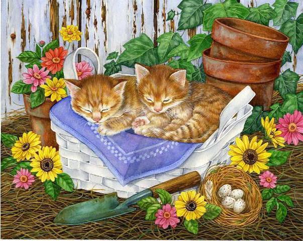 Рыжие котята, живопись