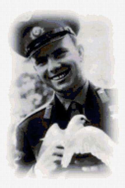 Юрий Гагарин с голубем,
