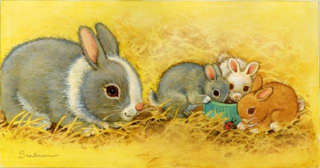 Зайчиха с зайчатами, оригинал