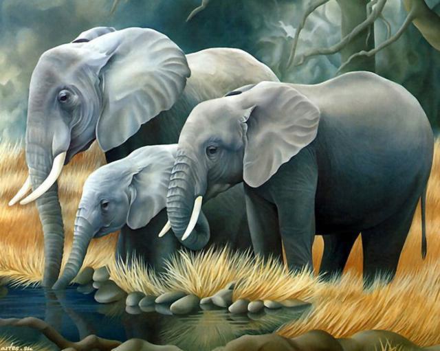Слоны на водопое, живопись,
