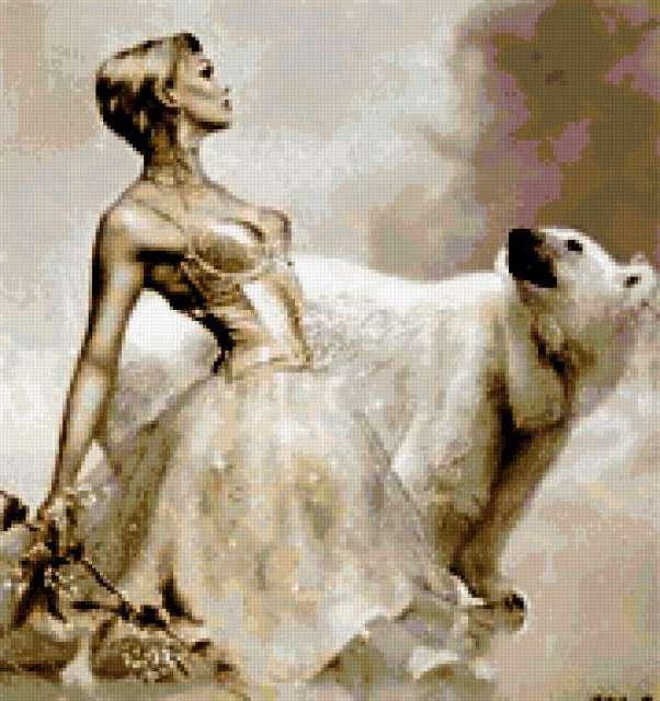 Девушка и белый медведь,