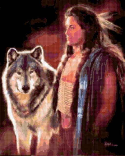 Индеец с волком, предпросмотр