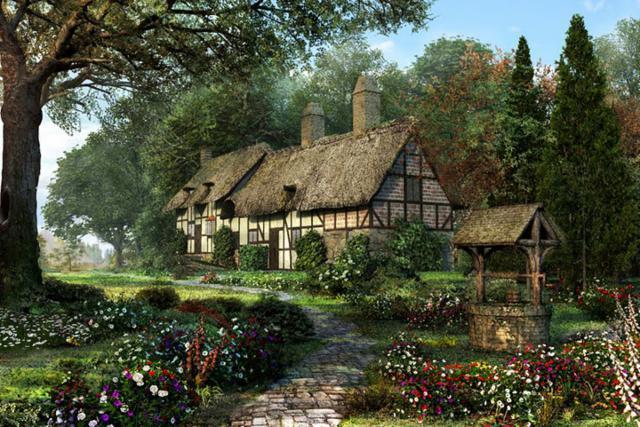 Дом в английском стиле, двор,