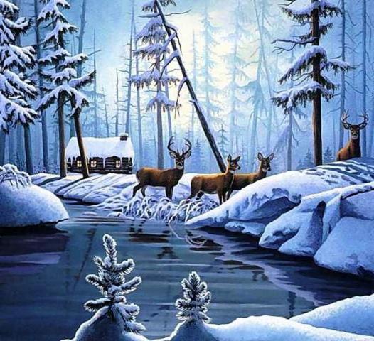 Зимний лес и олени, оригинал