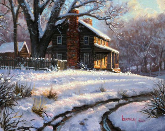 Зимний домик у дороги,
