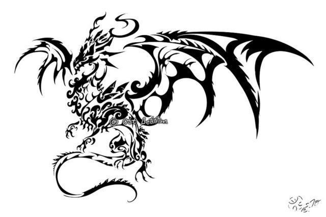 дракон, тату, черно-белый