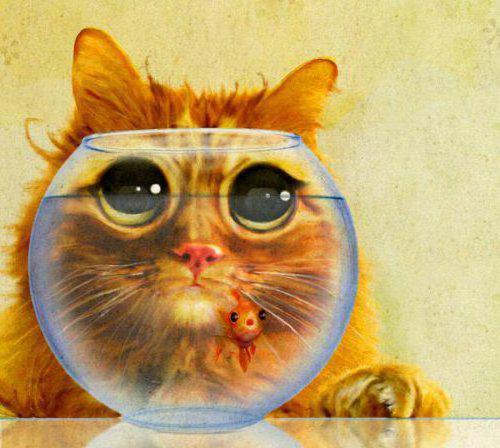 Кот и золотая рыбка, живопись,
