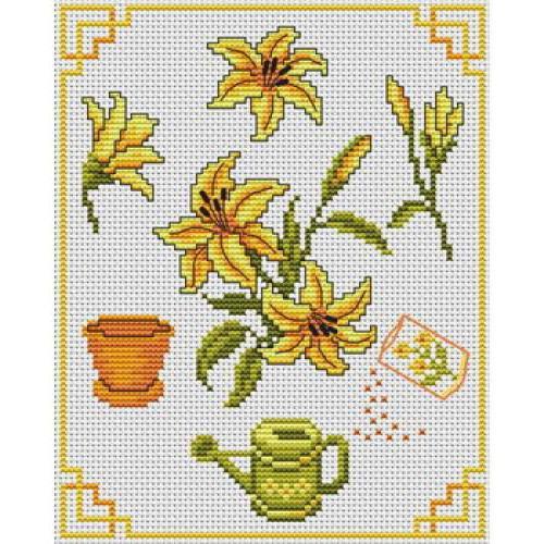 мини-вышивки, цветы, лилии