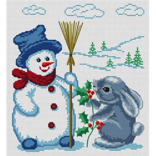 Зайчик и снеговик, зайчик,