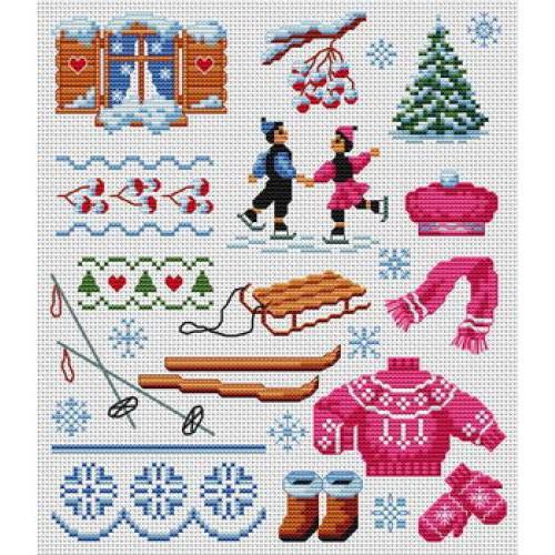 Мини-вышивки Зима, оригинал