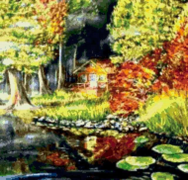 Лесной пейзаж с домиком,