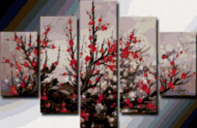 Цветы сакуры общ.вид,