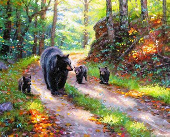 Три медведя на лесной дорожке,