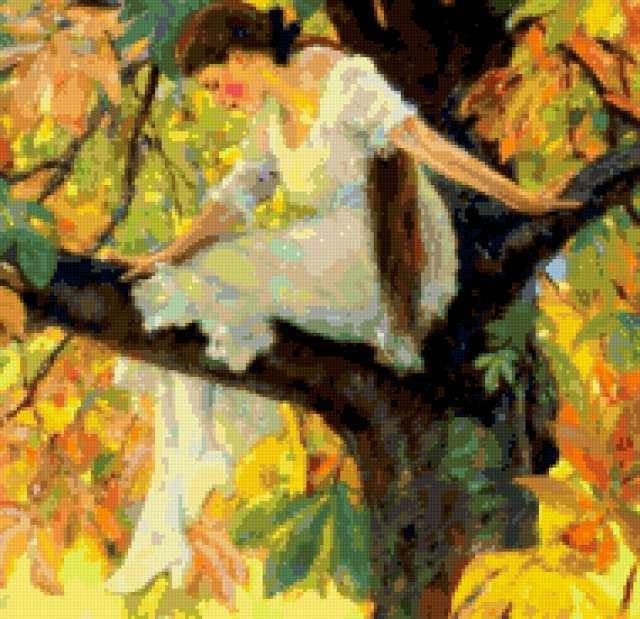 Девушка среди осенней листвы,