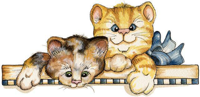 Забавные котята, живопись