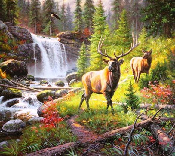 Лесной пейзаж с оленями,