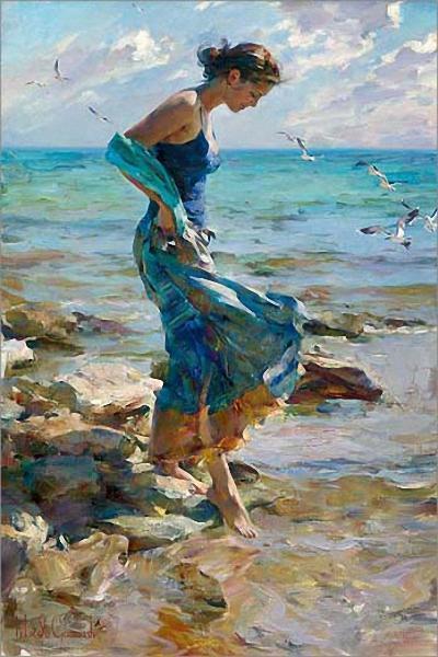 Девушка на берегу, оригинал