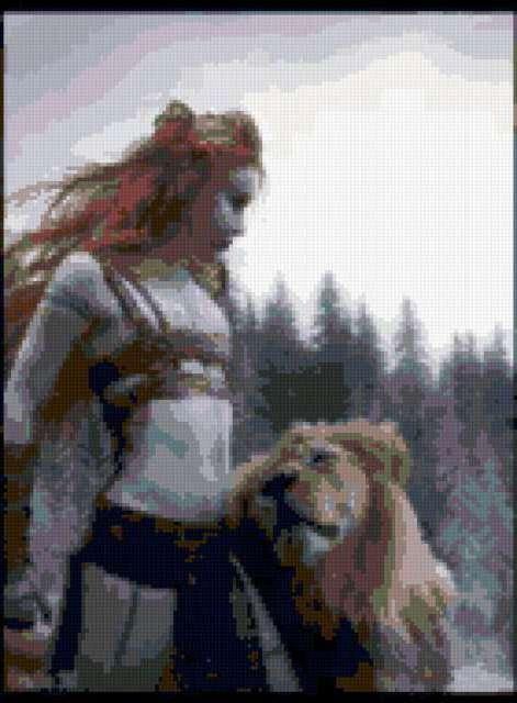 Девушка со львом, предпросмотр