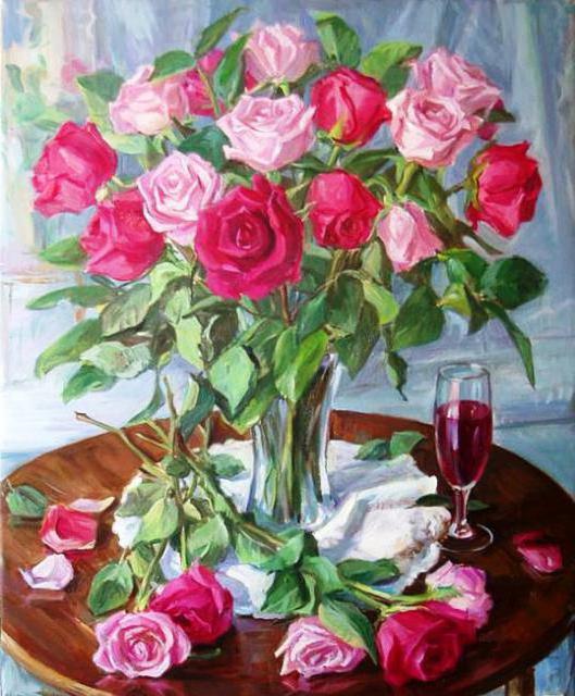 Розы и бокал вина, оригинал