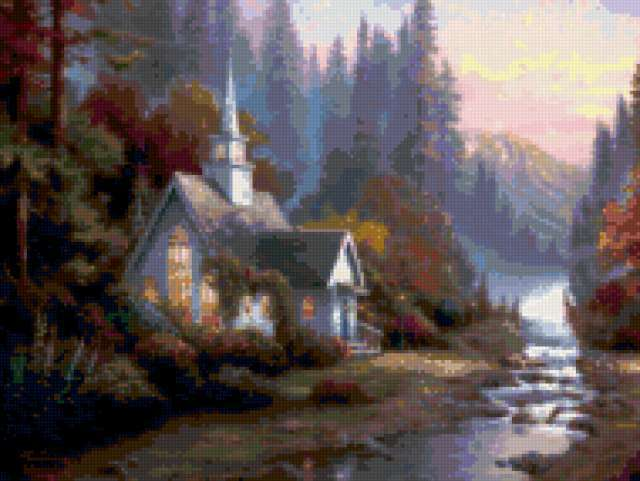 Домик у реки, река, горы,