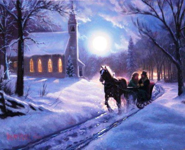 Зимний вечер в деревне,