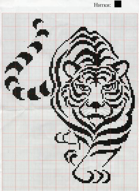 Схемы вышивки крестом тигры черные