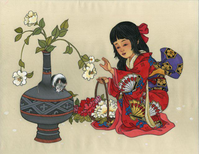 девочка, люди, китай, ваза