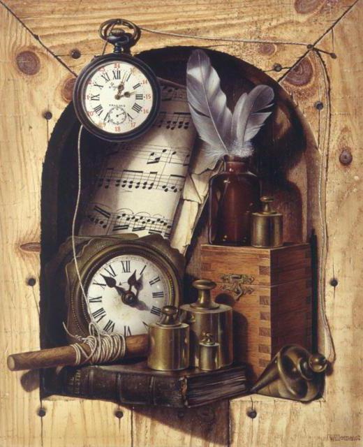 Старинные часы, натюрморт