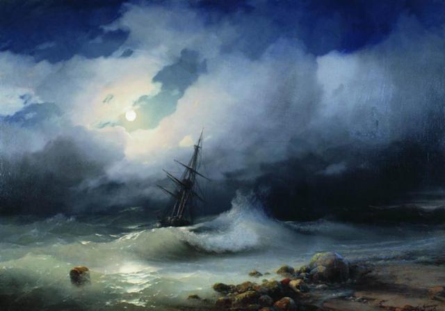 Айвазовский, Бурное море ночью
