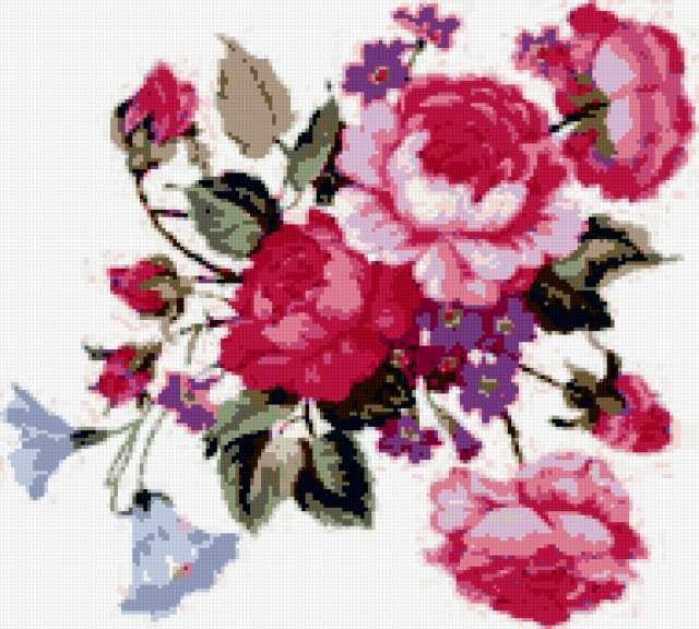 Розы, незабудки, вьюнок, цветы