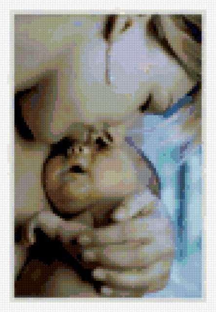 Малыш и мама схема вышивки