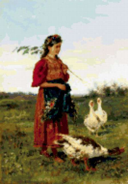 Девушка и гуси, предпросмотр