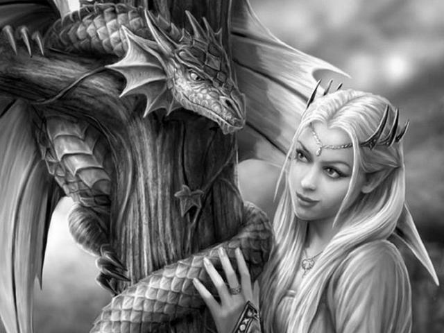 фэнтези, дракон, девушка