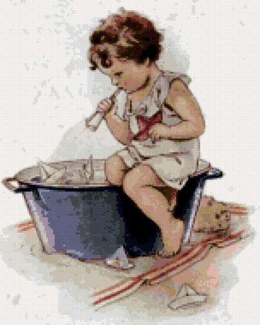 Дети в поле вышивка
