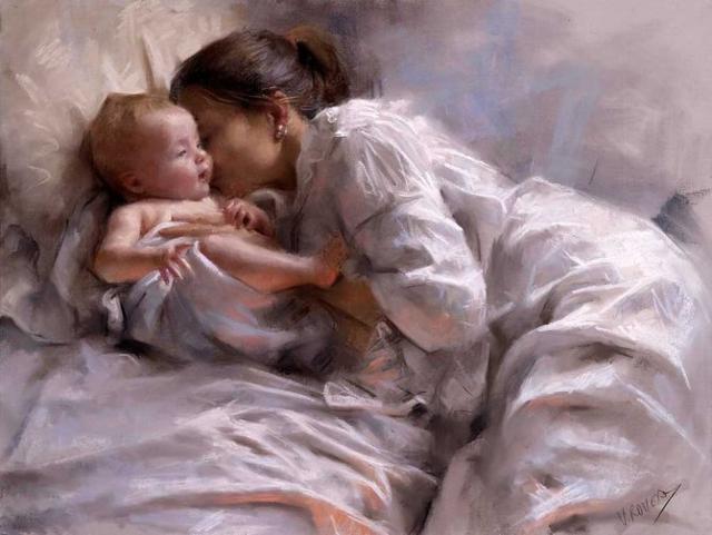 Мама целует малыша, оригинал