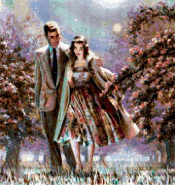 Влюблённая пара в весеннем