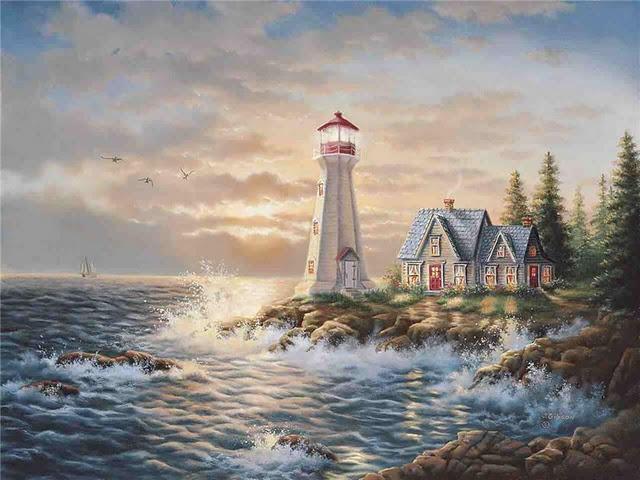 Маяк, маяк, море, шторм,
