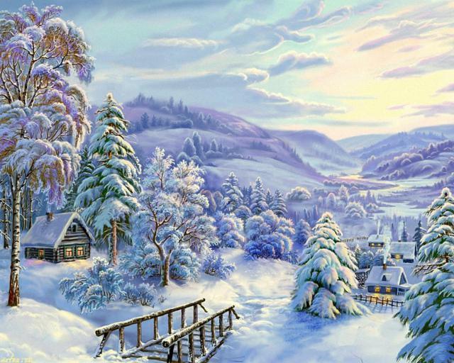 Зимняя деревенька, оригинал