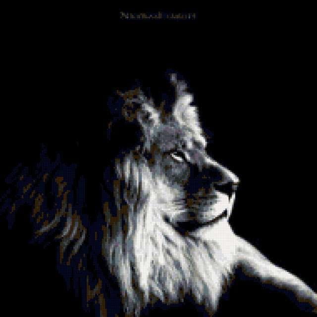Черно белый лев вышивка