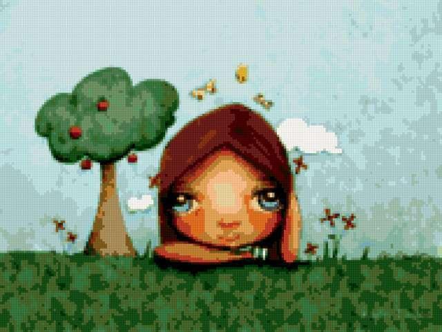 КТ_052, девушка, дерево