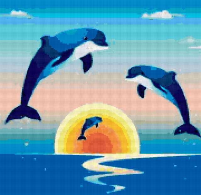 Дельфины и морской закат,
