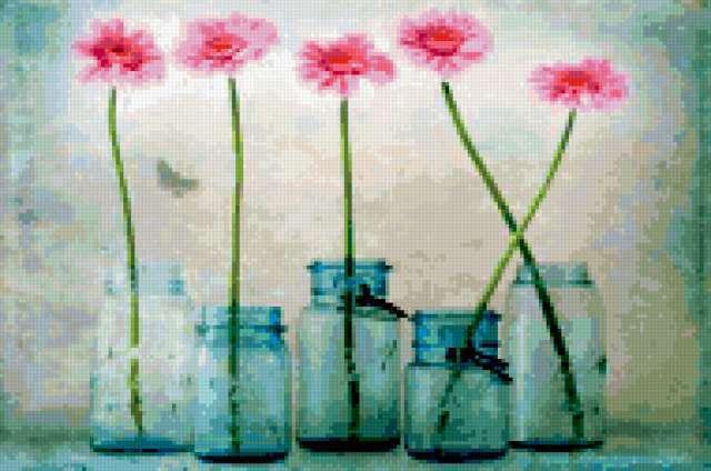 Цветы в банках, предпросмотр