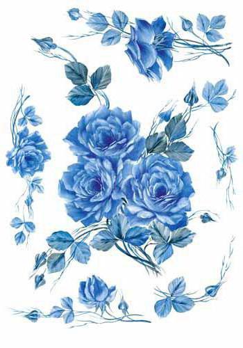 Голубые цветы, салфетка