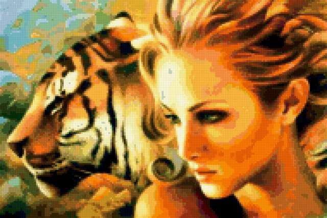 Девушка и тигр 1, предпросмотр