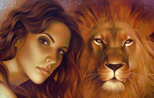 Девушка и лев, природа,