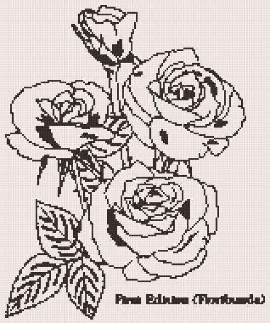 Схема вышивки монохром розы