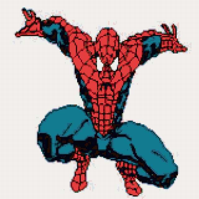 Схема вышивки крестиком человек паук 31