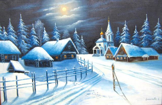 Деревня зимой, деревня, зима