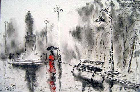 Дождь , дождь, осень, аллея,
